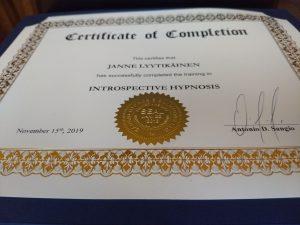 Introspective Hypnosis sertifikaatti
