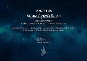 Kvanttihypnoosin perusteet sertifikaatti - Janne